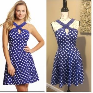 GUESS Keyhole Crisscrossed polka dot Halter Dress